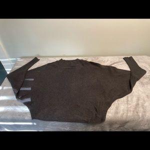 Zara Knit Batwing Sweater L Charcoal Gray.